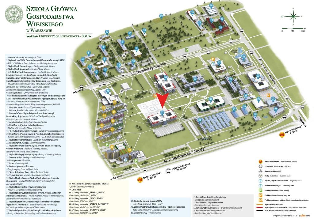 Mapka poglądowa kampusu SGGW